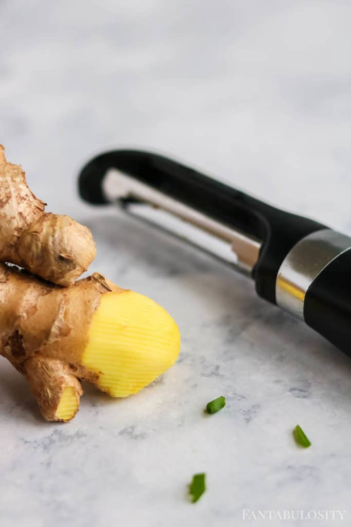 Grating ginger for Asian chopped salad