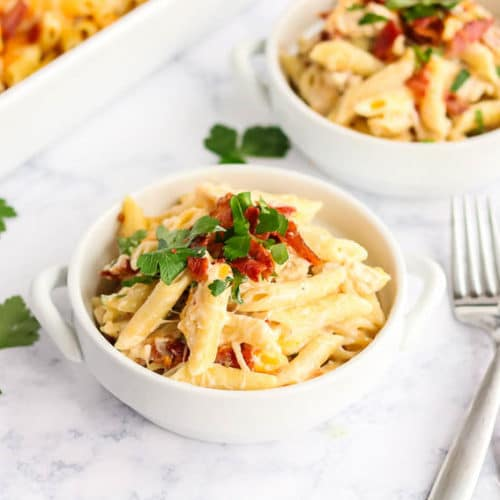 Chicken Bacon Ranch Pasta in a small white bowl