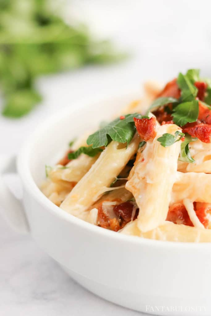 Chicken bacon ranch pasta in a white bowl