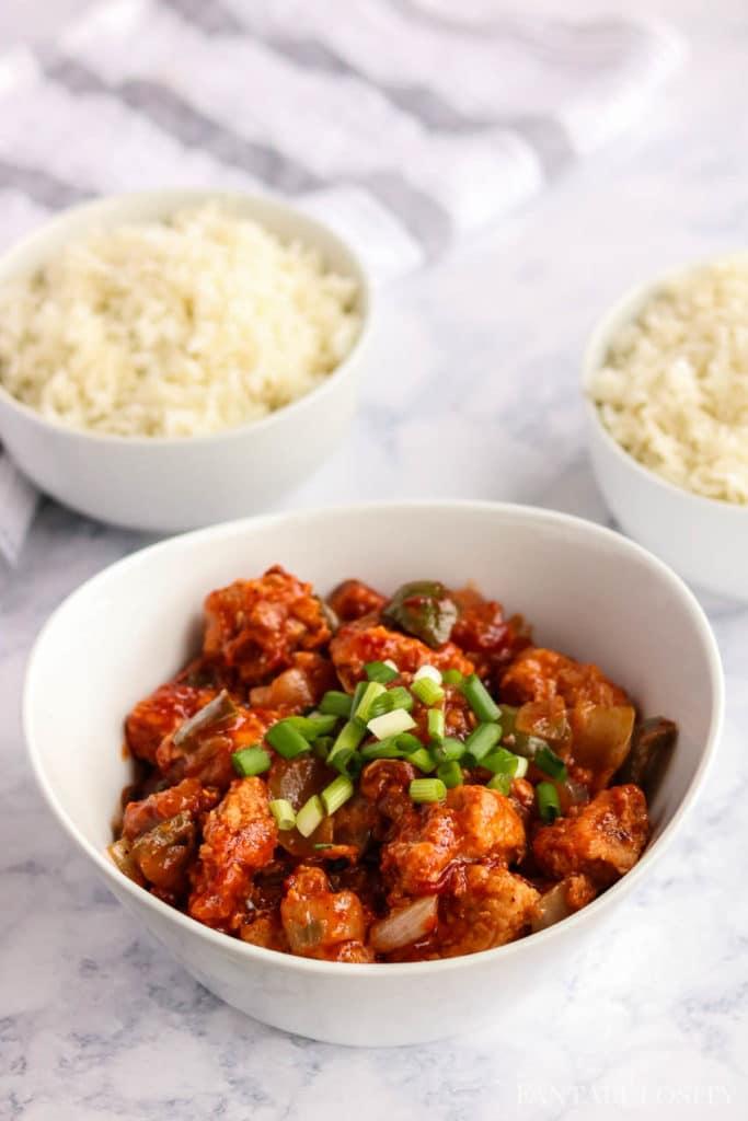 Chilli Chicken in white serving bowl