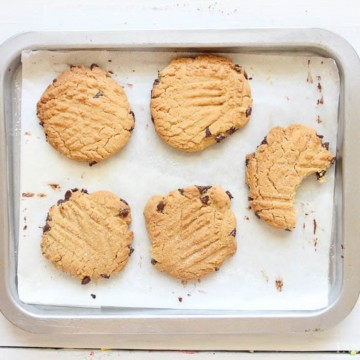 Peanut Butter Chocolate Chip Cookies - Cookies on baking sheet - chocolate chip peanut butter cookies
