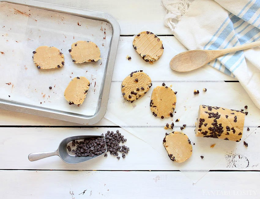 Chocolate Chips on slice and bake peanut butter cookies