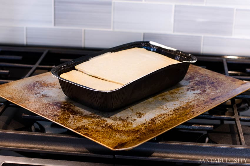 Schwan's Bake and Serve Meal on a cookie sheet