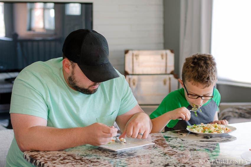 Family eating Schwan's