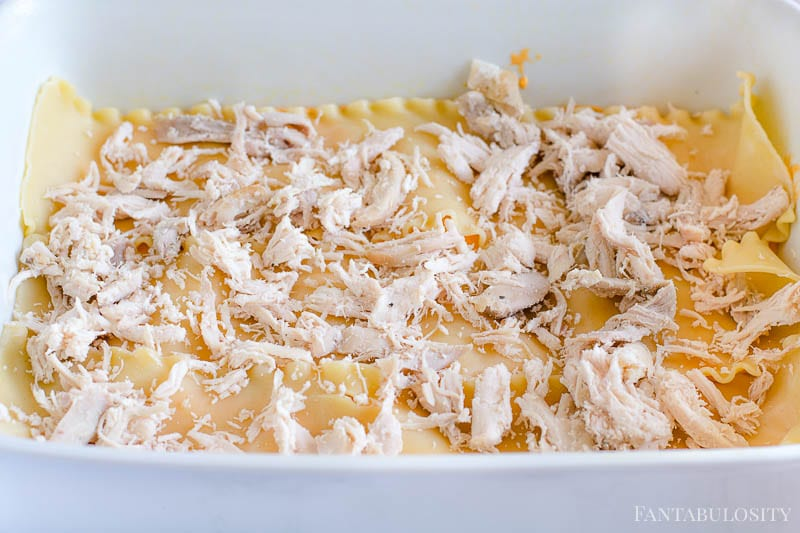 Sprinkle on cooked rotisserie chicken for the lasagna