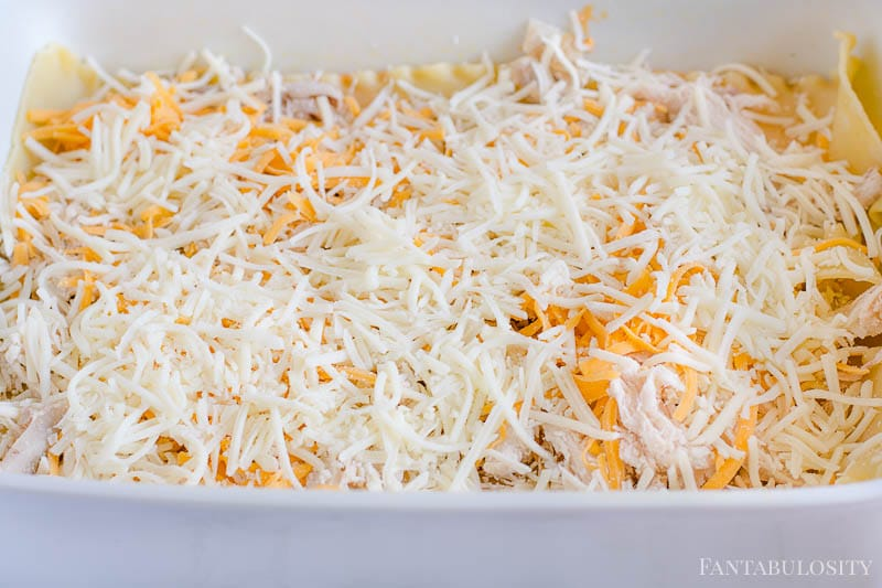 Layer on the shredded cheese