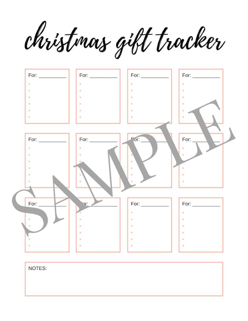 Christmas Gift Tracker List Printable