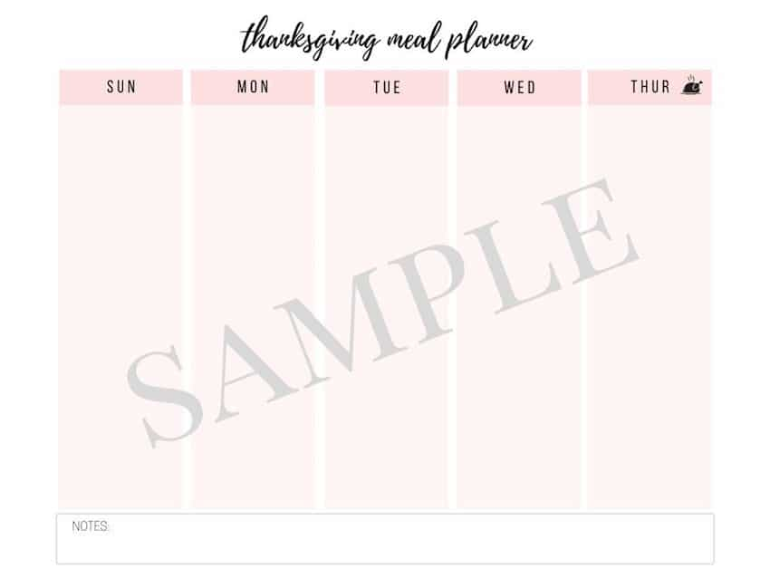 Thanksgiving Meal Planner Schedule Template