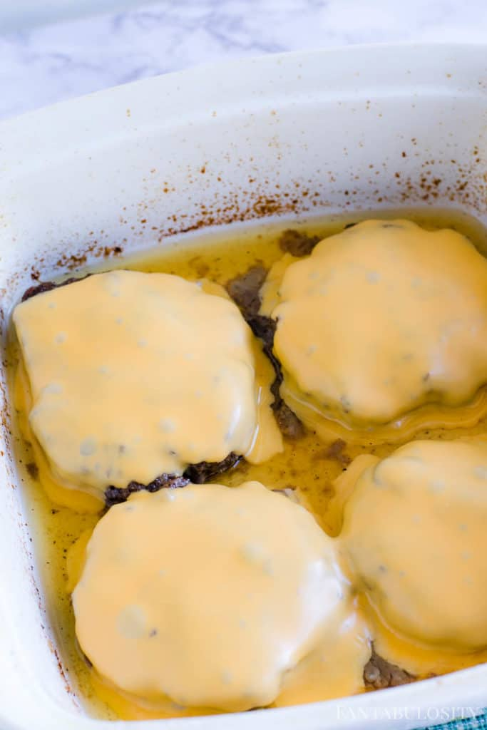 Cheese added to baked hamburgers
