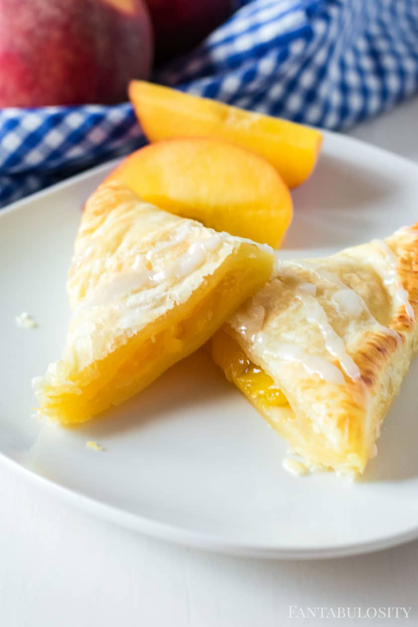 peaches inside of puff pastry