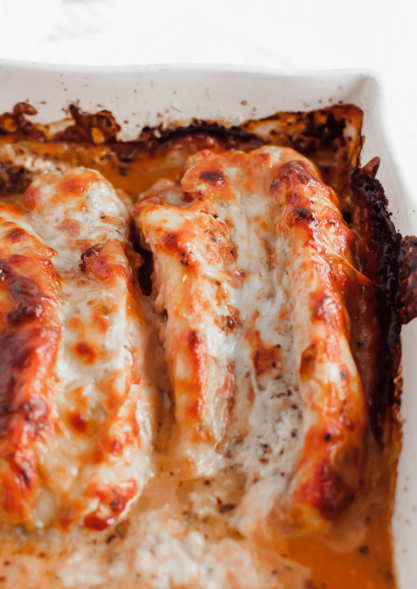 Get ready for some major comfort food. Lasagna Stuffed Chicken is packed with three cheeses and red sauce for the ultimate low carb meal.