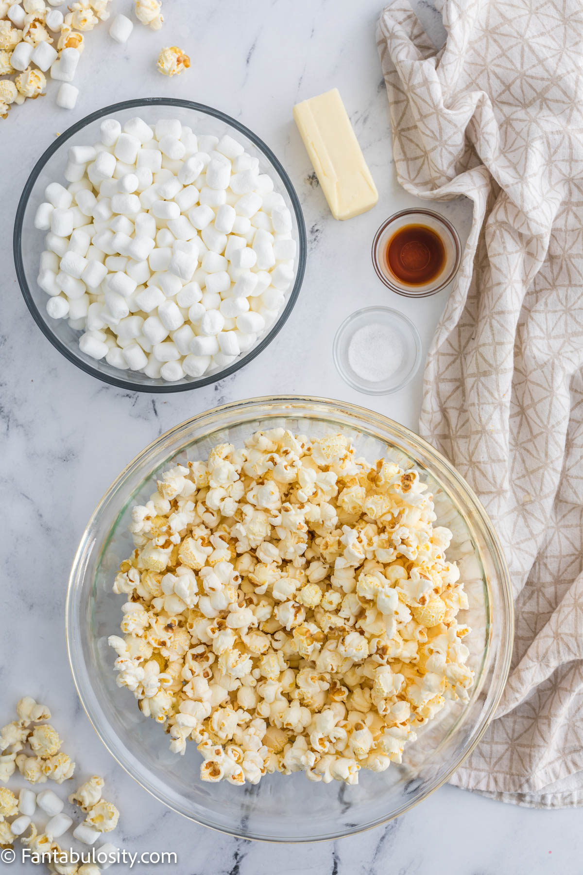 ingredients on the table for popcorn balls