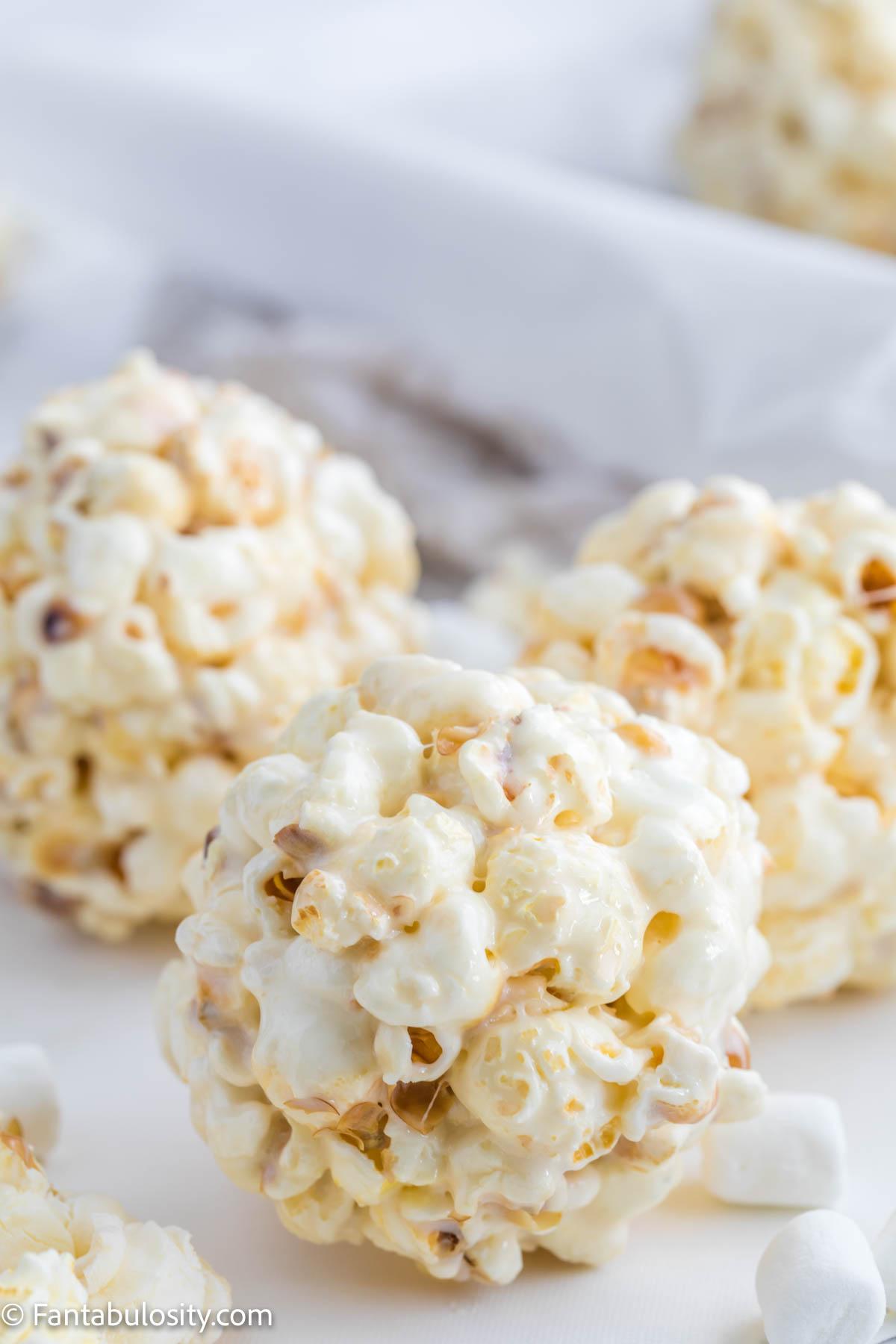 marshmallow popcorn balls on table