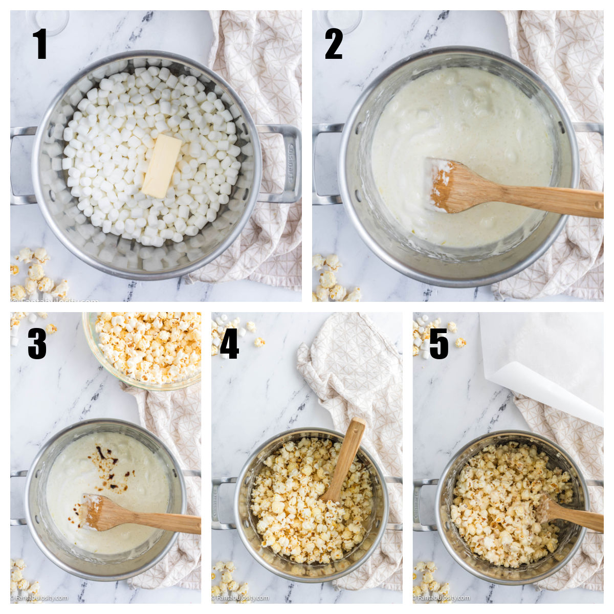 step by step collage of making marshmallow popcorn balls