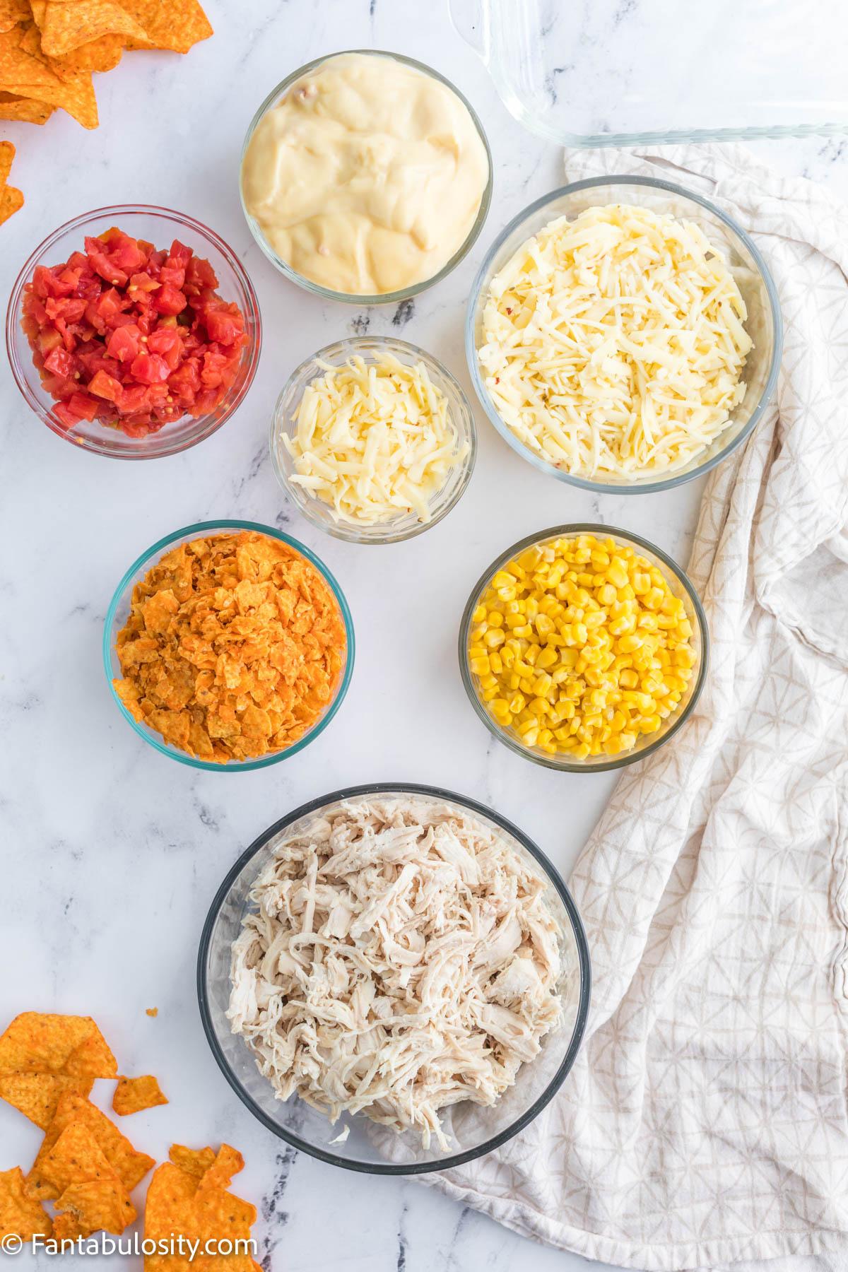 Ingredients for Doritos Chicken Casserole