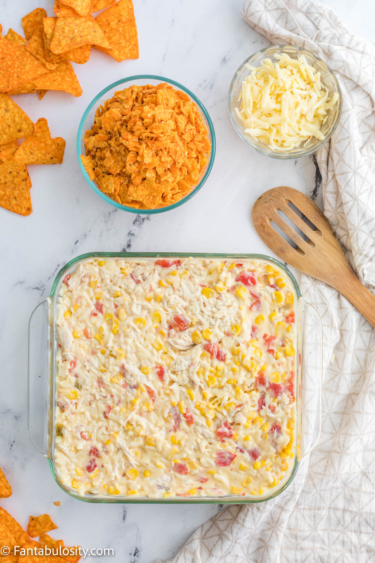 Pour chicken casserole in to baking dish