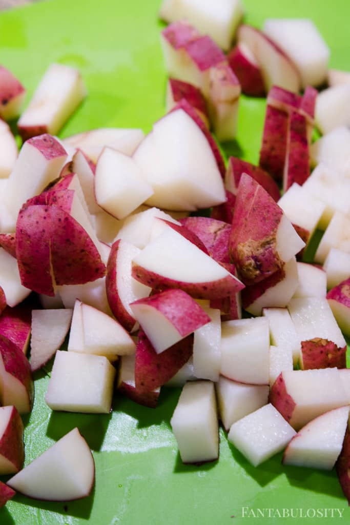 Chopped red potatoes for the instant pot pressure cooker
