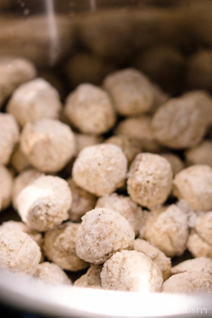 Frozen meatballs in the slow cooker
