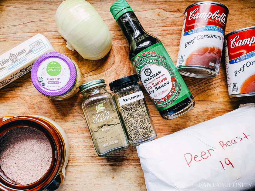 Ingredients laying out to make instant pot french dip sandwiches
