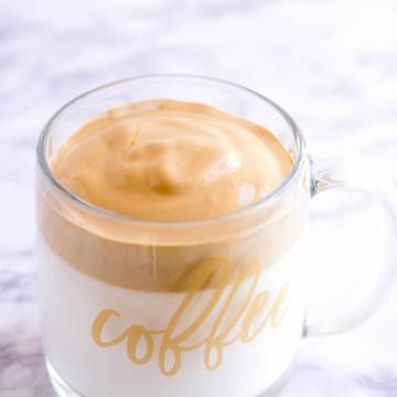 Whipped Coffee in a clear mug
