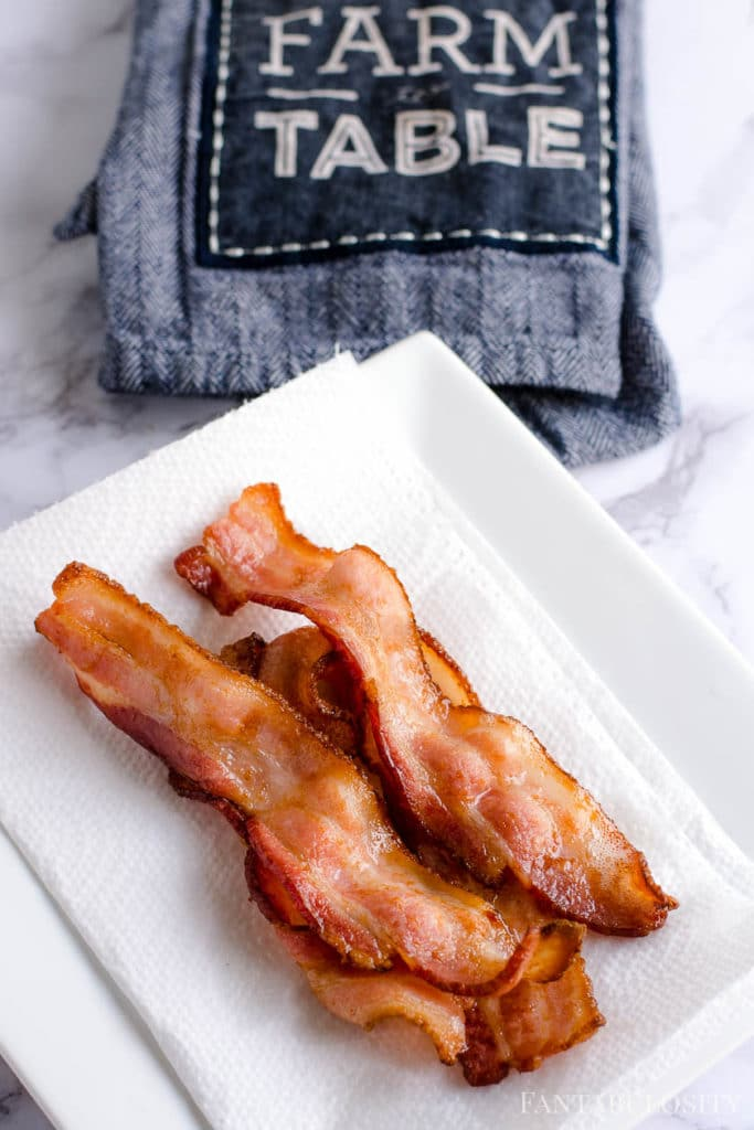Air Fryer Bacon on a papertowel