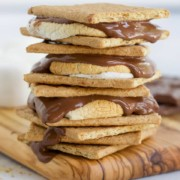 Air fryer smores on wooden cutting board