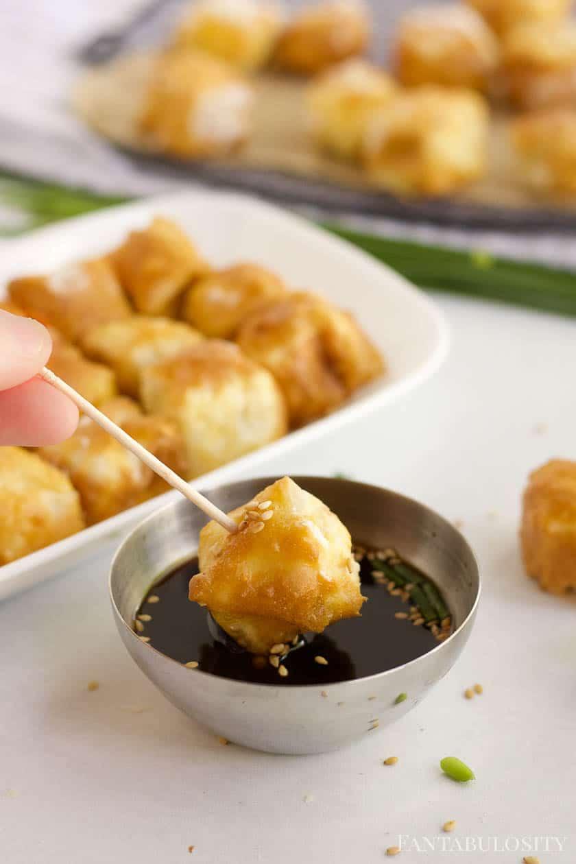 Dipping air fryer tofu in sauce