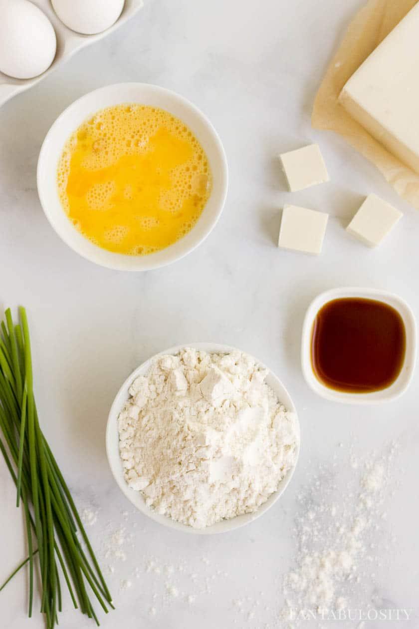 Air fryer tofu ingredients on white counter