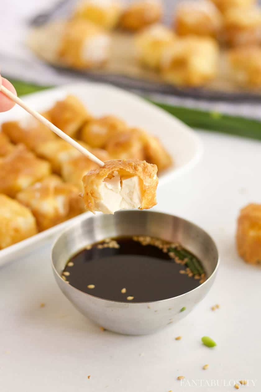 Air Fryer Tofu recipe with dipping sauce