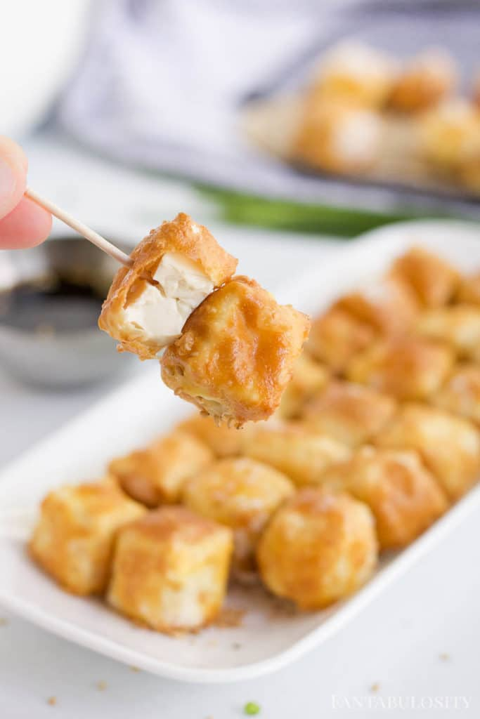 Air fryer tofu on toothpicks, perfect as an appetizer