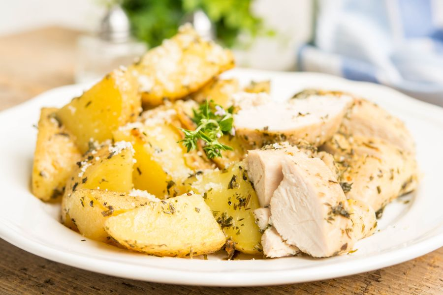 Instant Pot Chicken and Potatoes served on a white plate