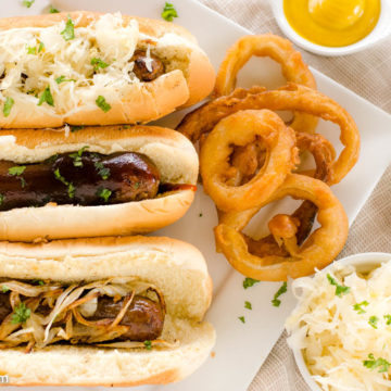 Bratwurst with toppings