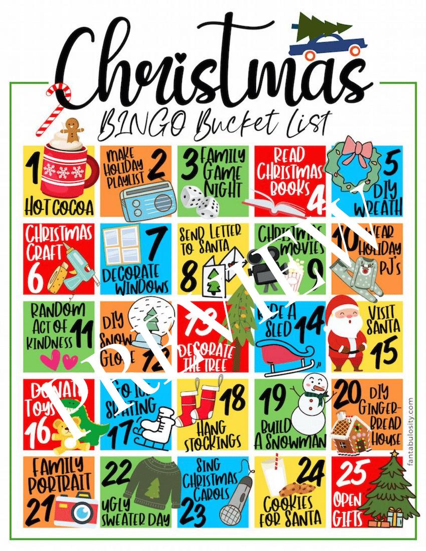 christmas bucket list printable and ideas