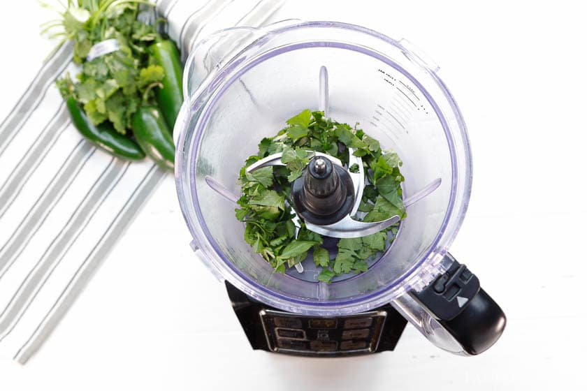 add in the cilantro in to food processor