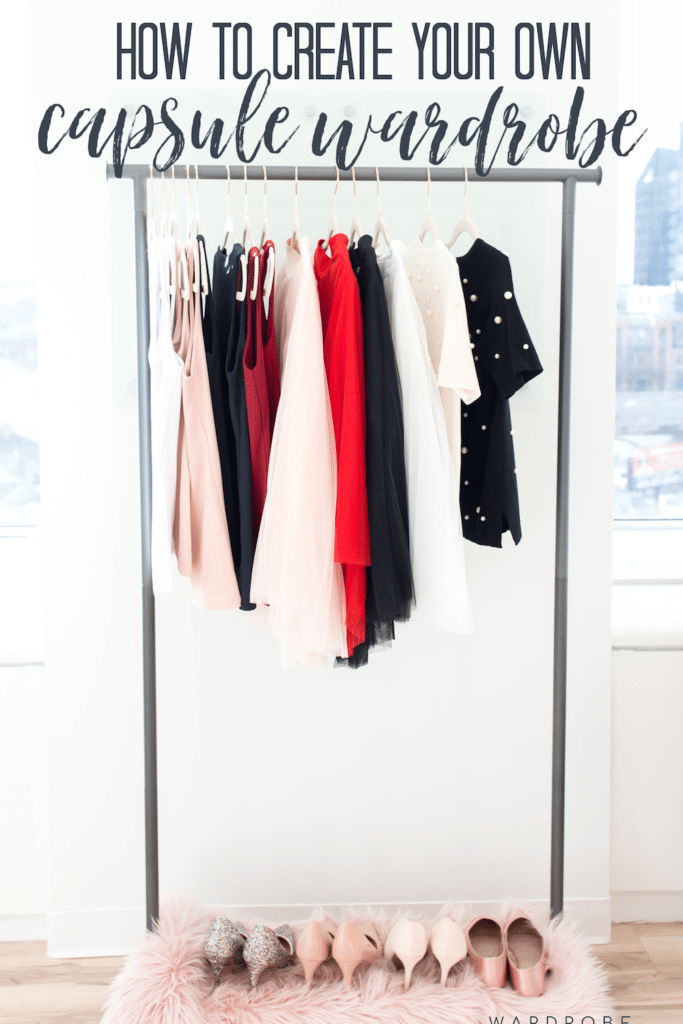 Rack of clothes for creating a capsule wardrobe
