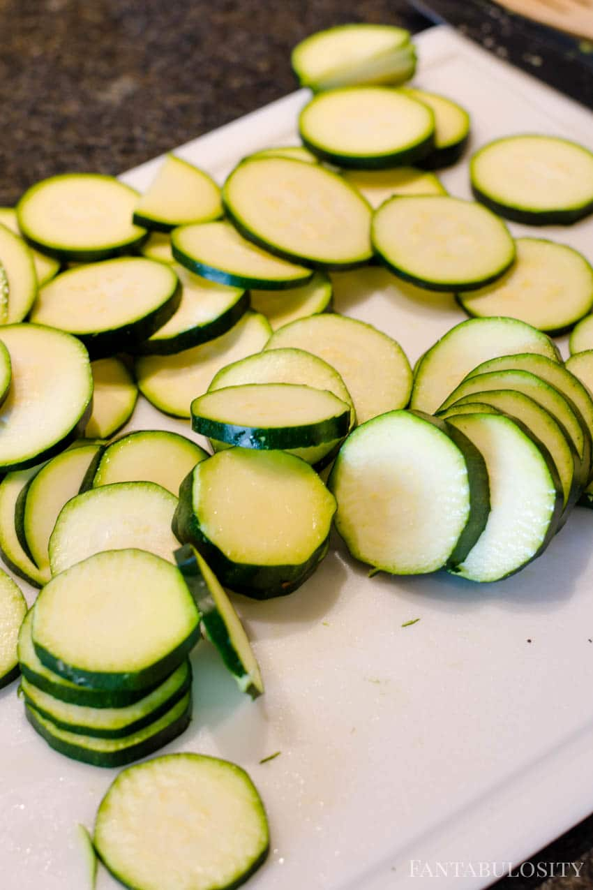 Slice raw zucchini