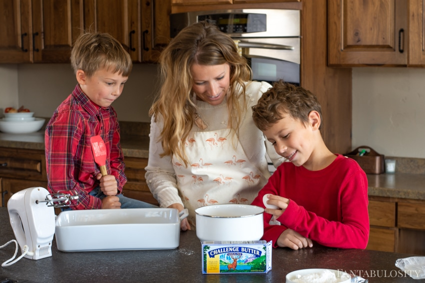 Cooking in the kitchen when kids