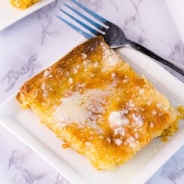 Gooey Butter Cake Recipe - on white plate