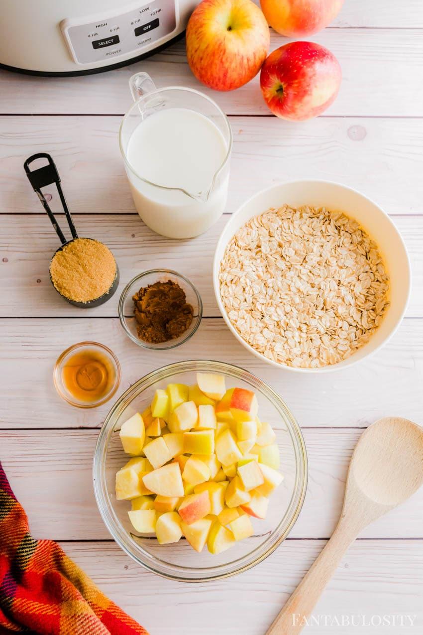 Ingredients for slow cooker apple cinnamon oatmeal