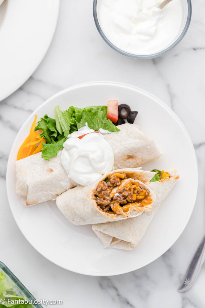 Beefy Cheese Burrito with toppings