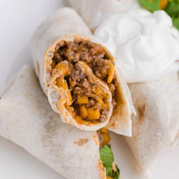Beef and cheese burrito
