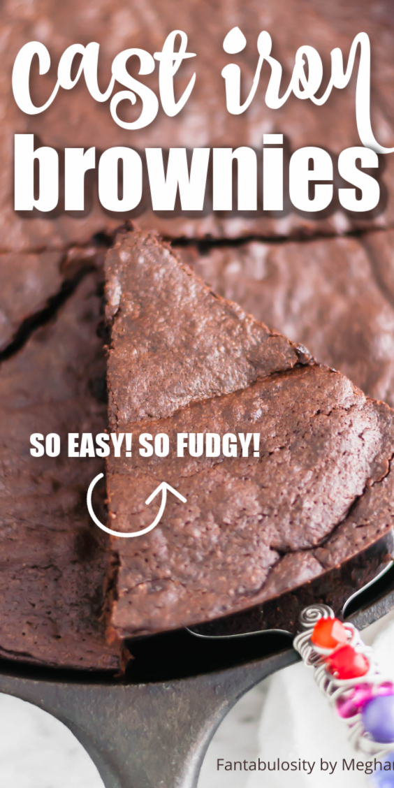 WHOA... why are these cast iron brownies SO good!? Such an easy dessert too! #cast #iron #easy #dessert #brownies #fudgy