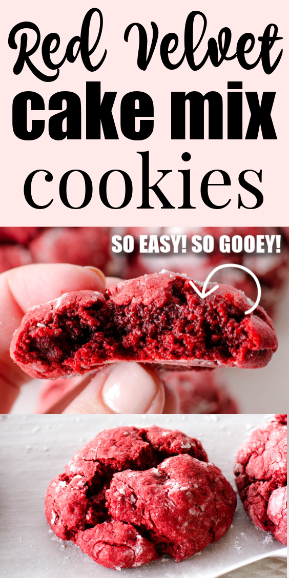 SOOO Good! Red Velvet Cake Mix Cookies - So easy and so good! #cake #mix #cookies #red #velvet