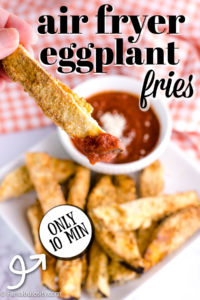 air fryer eggplant fries dipping in to marinara