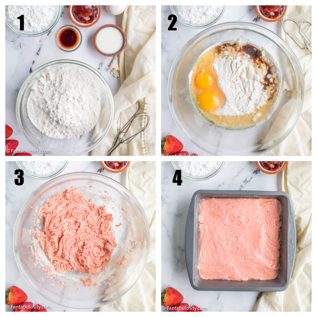 Step by step on how to make strawberry brownies