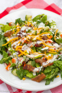 Best Salad Recipe in White Plate with Red Napkin