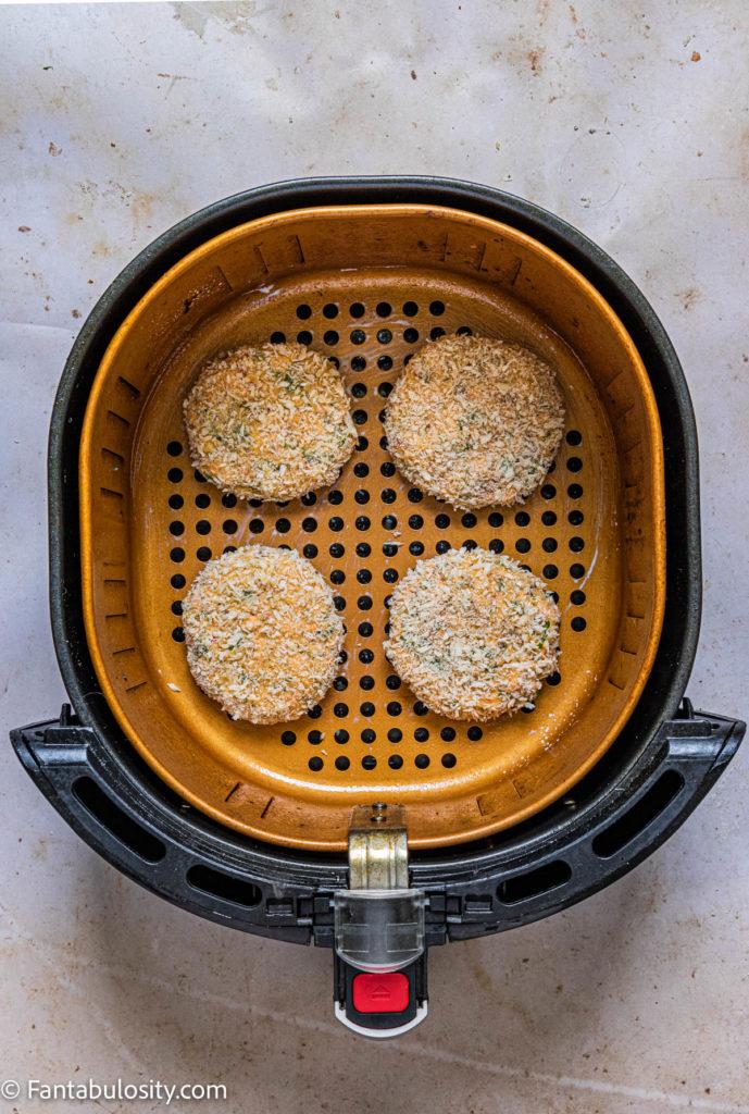 salmon patties in air fryer basket