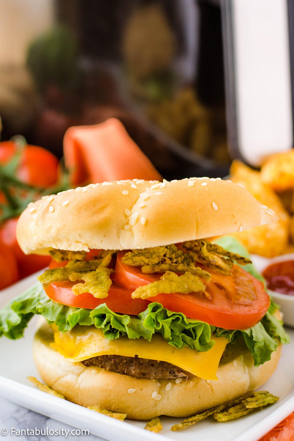 Air Fryer Turkey Burgers with crispy jalapenos