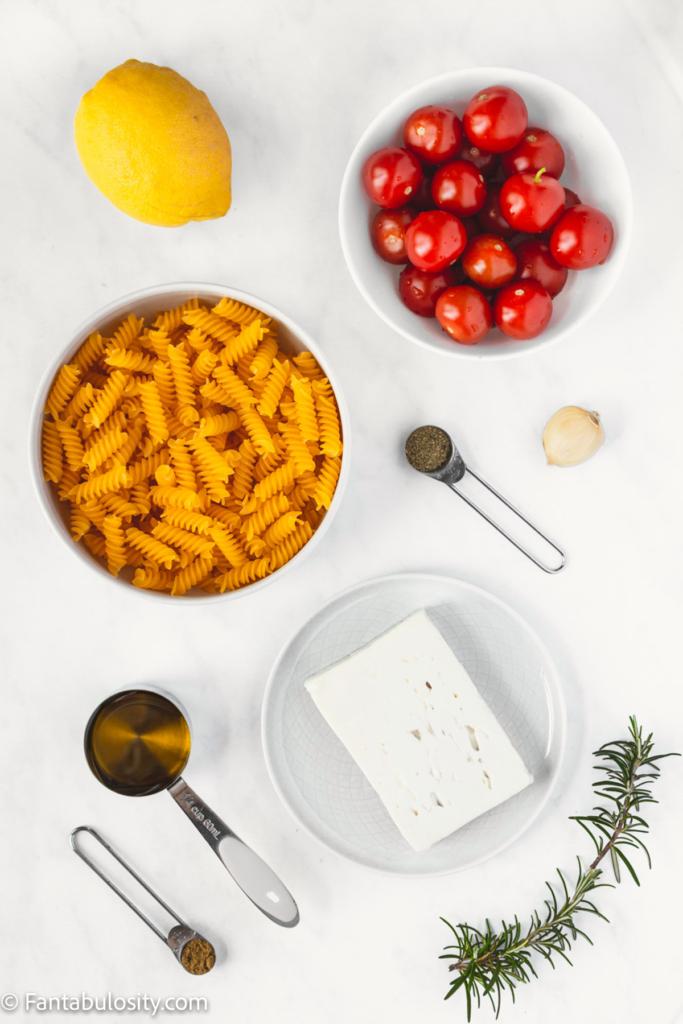 Ingredients to make baked feta pasta from tiktok