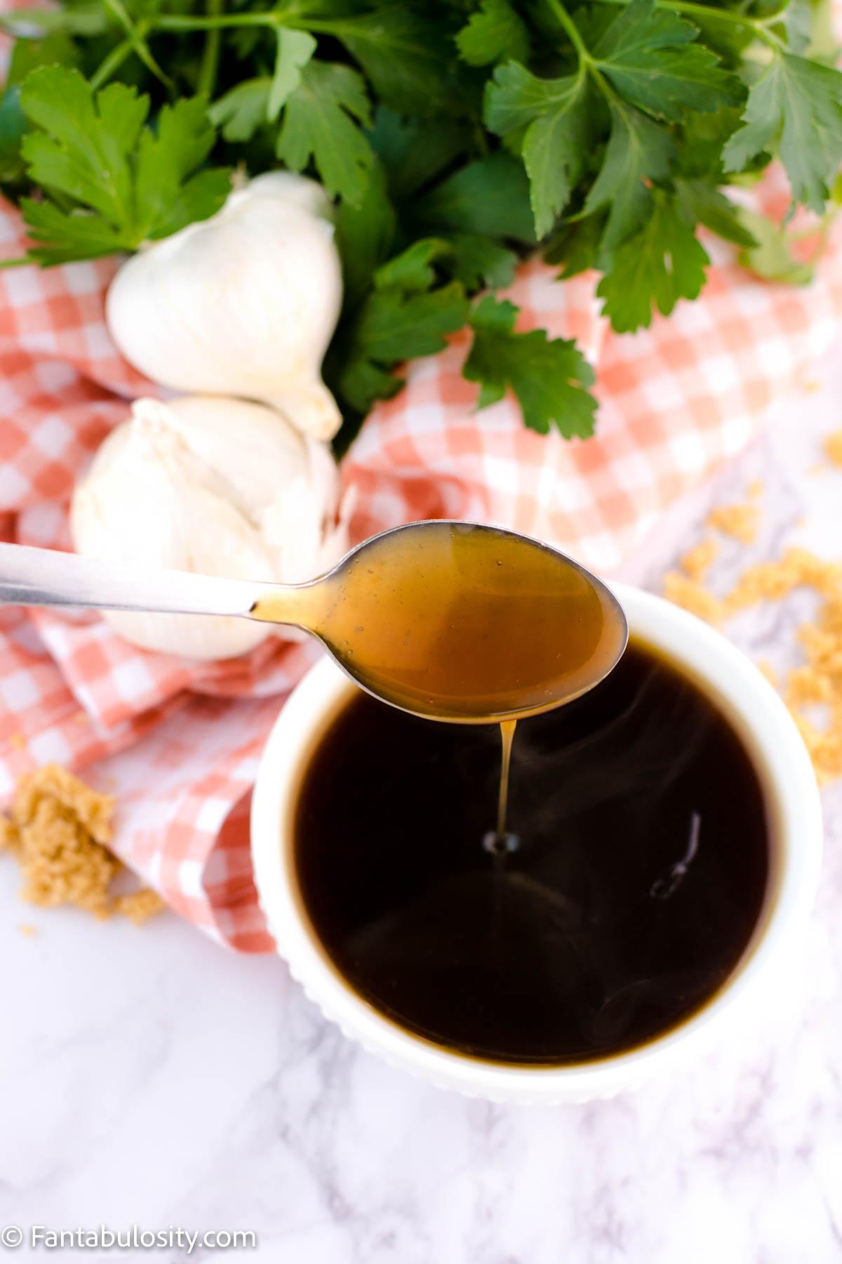 Homemade Teriyaki Sauce Recipe - spoon dripping sauce